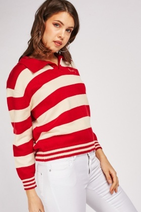 Chunky Striped Collared Jumper