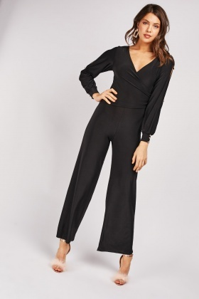 Cut Out Sleeve Wrap Jumpsuit
