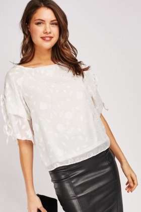 Flower Pattern Chiffon Blouse