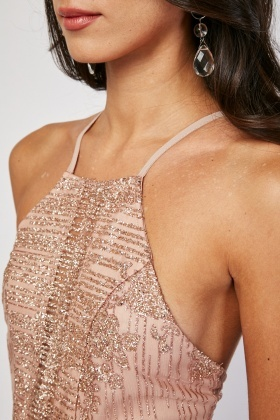Heavily Glittered Mesh Overlay Dress