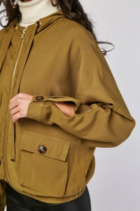 Hooded Slouchy Utility Jacket