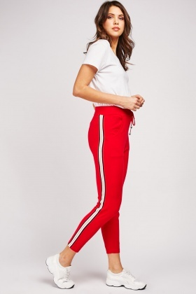 Jersey Knit Joggers With Stripe Side