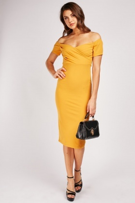 Off Shoulder Midi Bardot Dress