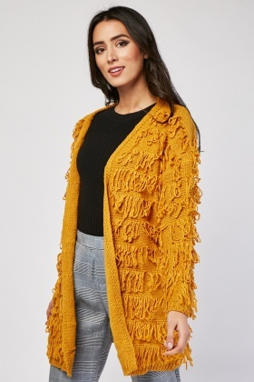 Open Front Shaggy Knit Cardigan