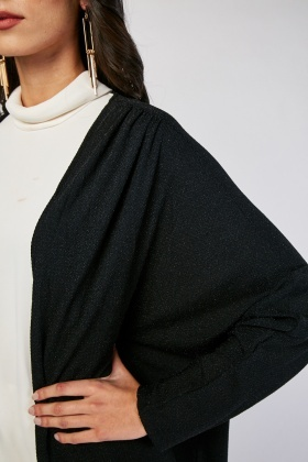 Open Front Slouchy Lurex Cardigan