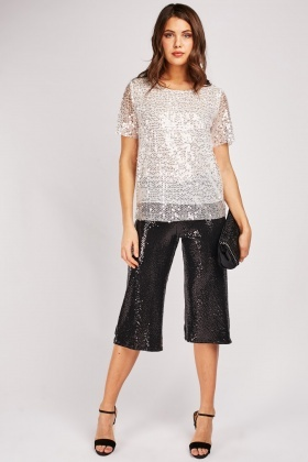 Sequin Crop Length Trousers