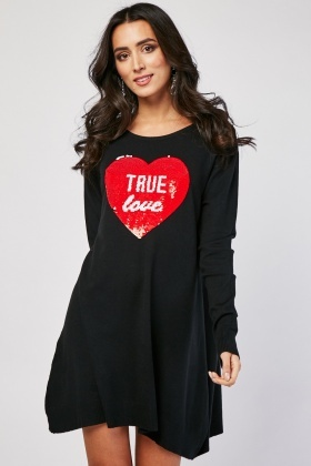 Sequin Lace Heart Front Knit Dress