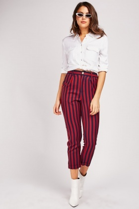 Striped Rolled Up Hem Trousers