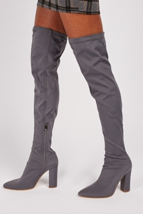 Thigh High Scuba Heeled Boots