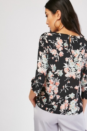3/4 Sleeve Length Floral Blouse
