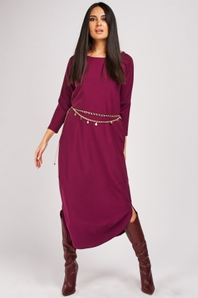Curved Hem Plain Midi Dress