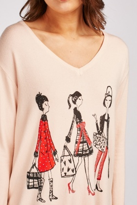 Encrusted Print Front Knit Jumper