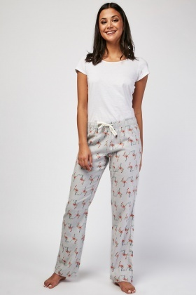 Flamingo Print Christmas Pyjama Bottoms