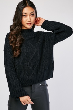 Flared Sleeve Cable Knit Jumper