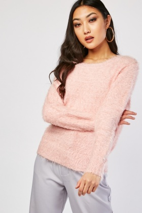 Plain Eyelash Knit Jumper