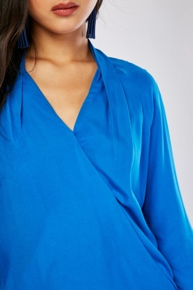 Royal Blue Wrap Blouse