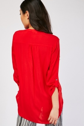 Single Pocket Front Red Blouse
