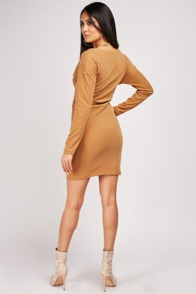 Tie Up Front Suedette Bodycon Dress