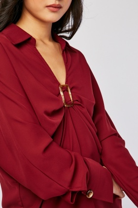 Tortoise Buckled Ruched Blouse