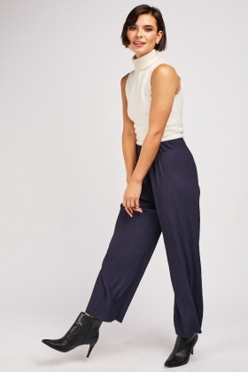 Wide Leg Plisse Trousers