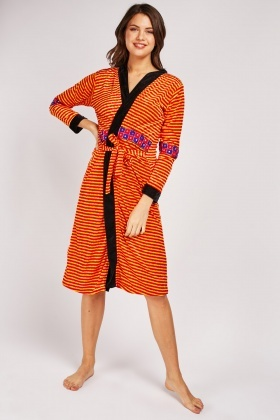 Embroidered Panel Velveteen Dressing Gown