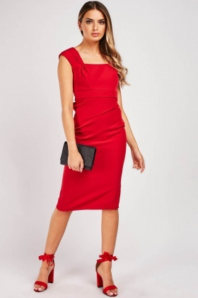 Pleated Square Neck Pencil Dress