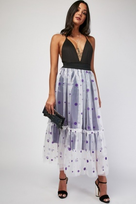 Polka Dot Net Overlay Skirt