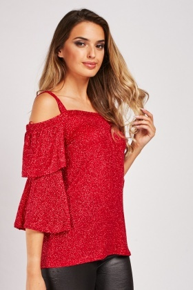 Tiered Sleeve Red Lurex Top