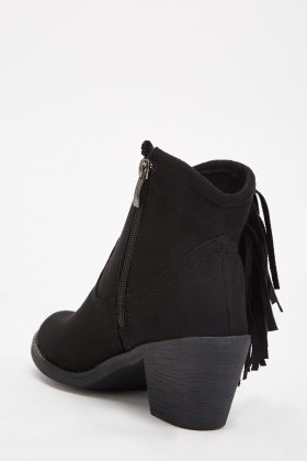 Fringed Side Ankle Boots