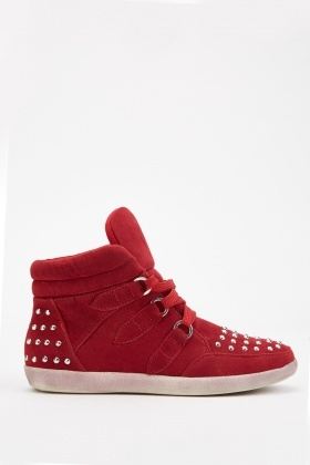 Lace Up Studded High Top Trainers