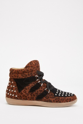 Leopard Pattern Studded High Top Shoes