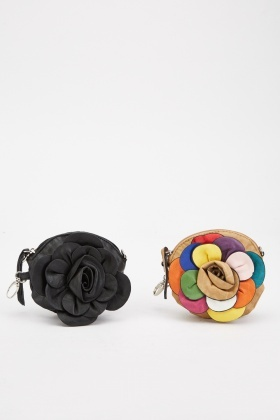 Set Of Two Multi-Coloured 3D Flower Bag