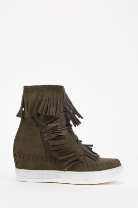 Suedette Fringed High Top Shoes