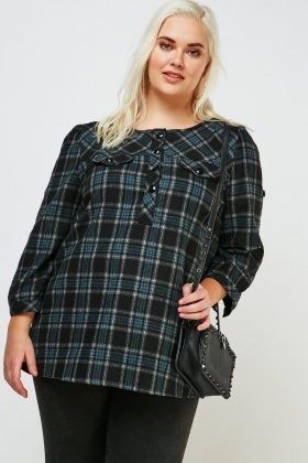 Checkered Flap Front Blouse