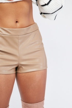 Faux Leather Light Brown Shorts