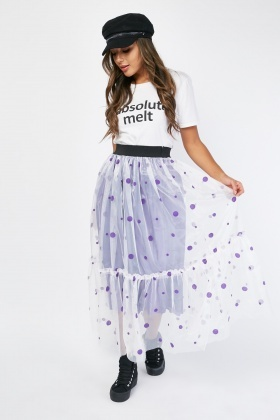 Polka Dot Mesh Maxi Skirt