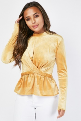 Twisted Front Velveteen Ribbed Top