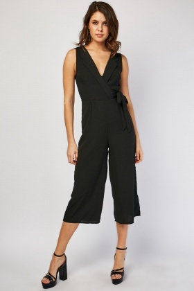 Lapel Front Wide Leg Jumpsuit