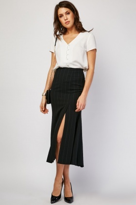 Pin Striped Midi Godet Skirt