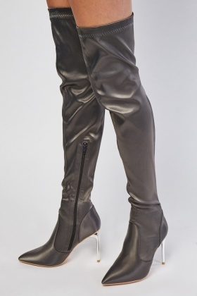 Over The Knee Sateen Stiletto Heel Boots