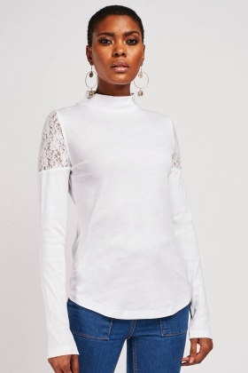Lace Sleeve Panel Jersey Top