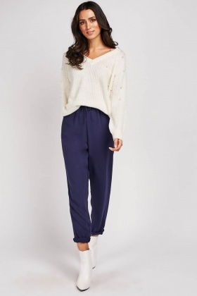 Plain Roll Up Hem Tapered Trousers