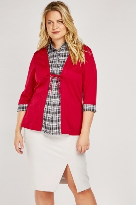 Checkered Shirt Insert Top