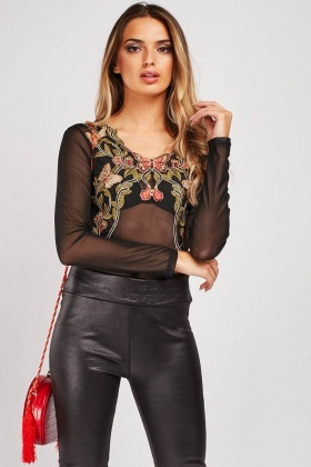 Embroidered Applique Mesh Bodysuit