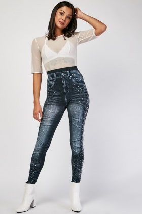 Encrusted Super Stretchy Denim Effect Leggings