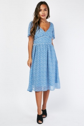Leaf Print Midi Tea Dress