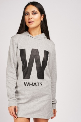 What Logo Printed Hooded Dress