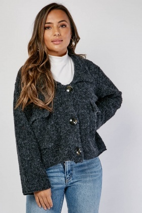 Flap Pocket Front Eyelash Knit Jacket