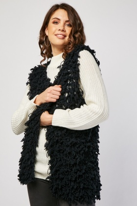 Loose Knit Shaggy Gilet