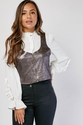 Metallic Grid Checkered Textured Top